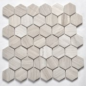 Wooden white herringbone mosaic