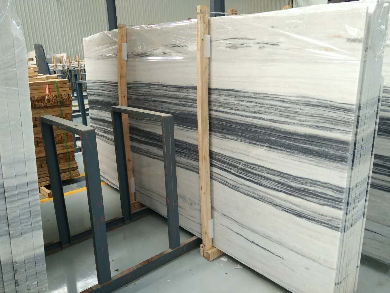 High quality ink black and white wood marble slab