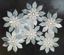 Wooden white & grey marble flower mosaic