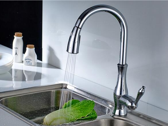 UPC Polished Chrome Pull Out Kitchen Taps Mixer 3023
